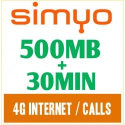 Simyo 500MB + 30МИН интернет и звонки по Испании, препайд сим-карта