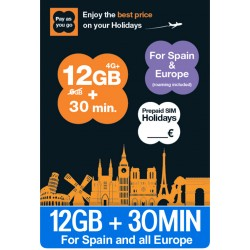 12GB Orange HOLIDAYS - 4G internet para Europa