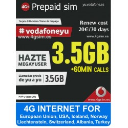 Vodafone Mega Yuser - Prepaid SIM карта, 4G интернет