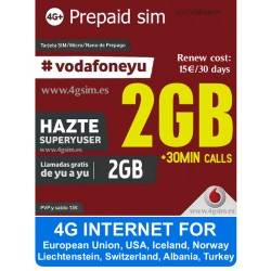 Vodafone Super Yuser - Prepaid SIM карта, 4G интернет