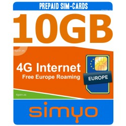 4G internet 10GB, Tarjeta SIM prepago Simyo