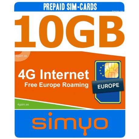 10GB Мобильный 4G ИНТЕРНЕТ для Испании и Европы, Simyo