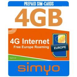 4GB internet para Espana y Europa, Tarjeta SIM prepago Simyo