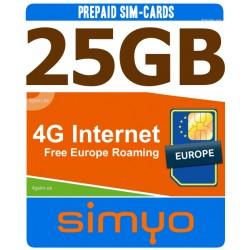 4G internet 25GB para Espania y Europa, Tarjeta SIM prepago Simyo