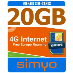 4G internet 20GB para Espania y Europa, Tarjeta SIM prepago Simyo