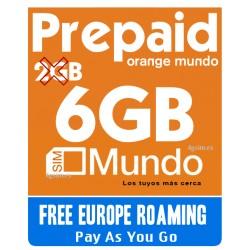 Orange MUNDO 6GB - Tarjeta SIM prepago para Europa y Espana