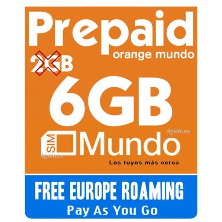 6GB Идеально для связи по Европе и Испании - SIM карта Orange Mundo