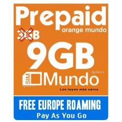 Orange MUNDO 9GB - Tarjeta SIM prepago para Europa y Espana