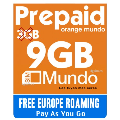 9GB Orange Mundo, идеально для связи по Европе и Испании - SIM карта