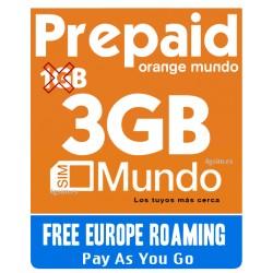 3GB Tarjeta SIM prepago Orange, Navega y habla en España y Europa