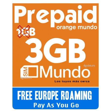 2GB для 4G Интернета по Испании и Европе, включает 2GB Orange Mundo
