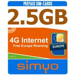 2,5GB Мобильный 4G ИНТЕРНЕТ для Испании и Европы, Simyo