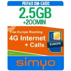 Simyo 2GB + 200 минут, препайд сим-карта для Европы